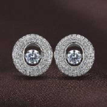 Circle Of Life with Pave Diamonds Swarvoski Crystal Earrings