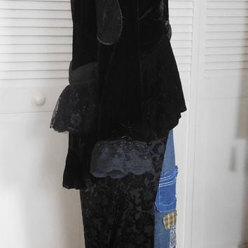 RESERVED for Sula  Steampunk Jacket Upcycled Clothing Victorian Blazer Black Burnt Velvet Embellished Fabric Flowers Size XL Black Lace