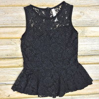 Sleeveless Lace Peplum Top - Black | .H.C.B.