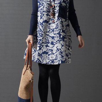 Linen long-sleeved round neckline dark blue leaves print sweater dress (ESR84)