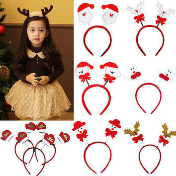 Christmas Xmas Novelty Adult Kid Headband Hat Costume Reindeer Santa Claus Gift