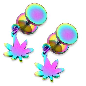 BodyJ4You Fake Plugs Gauges Pot Leaf Dangle Rainbow Earrings 0G 2 Pieces