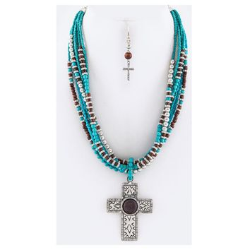 Stunning Ornate Cross Layered Necklace Set