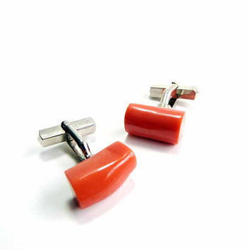 Vintage 1950s Genuine Salmon Coral Branch Stone Cufflinks Mens or Womens Jewelry Groom Cufflinks Silver Toned Setting