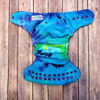 Hybrid Fitted Cloth Diaper-Tie-Dye Mermaid-One Size Windpro-Purple Velour-Hemp Bamboo Insert-Fold Down Rise-Natural Eco-Friendly-Reusable