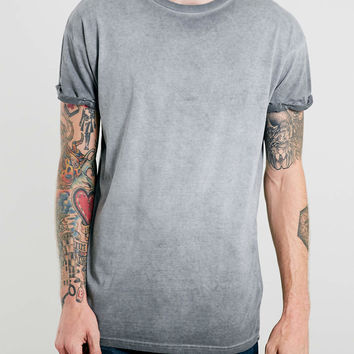 GREY OIL WASH ROLLER T-SHIRT - Topman