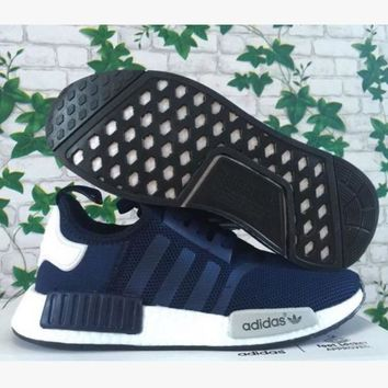 Adidas Women Men Trending NMD Running Sports Shoes Navy blue