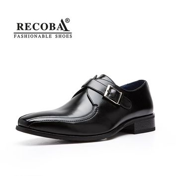 Mens casual  designer genuine leather formal wedding dress shoes single monk buckle strap flat shoes zapatos hombre