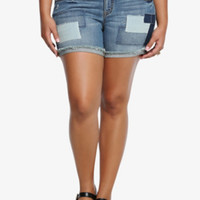 Torrid Skinny Shorts - Light Wash with Patchwork