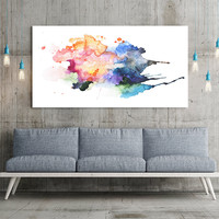Art Print - Large Wall Art Watercolor Abstract Canvas Print-  Wall Art Framed Canvas Print