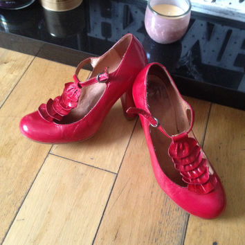 Vintage Red Leather Mary Janes