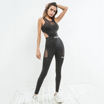 Sexy Black Mesh Detailing Cut Out Jumpsuits