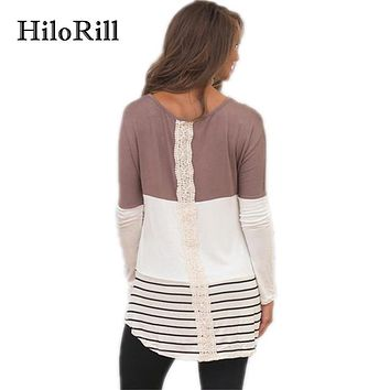 HiloRill Fashion Back Lace Blouse Autumn Women Long Sleeve Shirt Casual Women Blouses Tunic Tops Tee Shirts Blusas Mujer S-XL