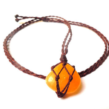 Calcite macrame necklace, orange calcite pendant, energizing necklace, healing crystals, hippie calcite choker, Cancer gift, Leo healing