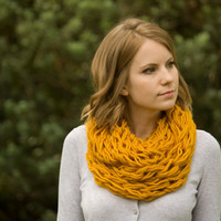 Mustard Yellow Infinity Scarf, Butternut Squash Scarf, Womens Fall Fashion Accessories