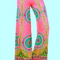 "SOUTH BEACH ""PINK FLAMINGO"" VIVID PINK TEAL SEXY STRETCH WIDE LEG PALAZZO PANTS"