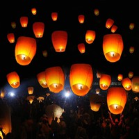 New 50 White Paper Chinese Lanterns Sky Fire Fly Candle Lamp Wish Party Wedding