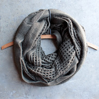 boho infinity grid scarf in olive
