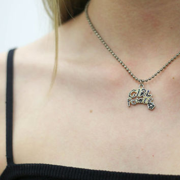 vtg 90s girl power child necklace 1990s accessories vintage urban outfitters american apparel tumblr fashion vaporwave aesthetic soft ghetto