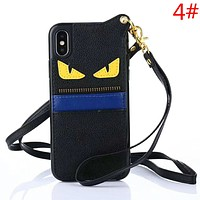 Fendi Fashion New Eye Leather Couple Personality Protective Cover Phone Case