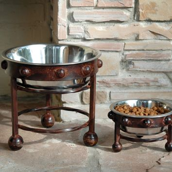 Mission Montana Rustic Bronze and Silver Pet Bowl and Stand