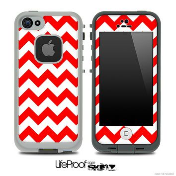 Red and White V2 Chevron Pattern Skin for the iPhone 5 or 4/4s LifeProof Case