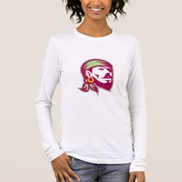 Pirate Eyepatch Headscarf Looking Up Retro Long Sleeve T-Shirt