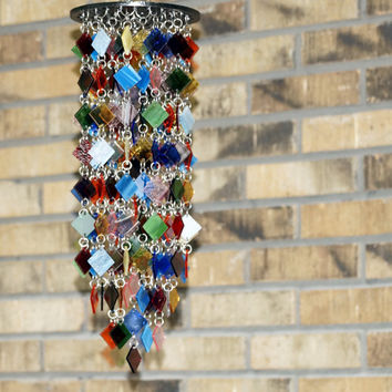 Stained Glass - Colored Glass - Wind Chimes - Sun Catcher - OOAK - Cosmos