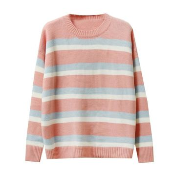 Women Sweater Stripe Turtleneck Student Sweet Female Clothing Lady Harajuku Ulzzang Loose Thick Vintage Sweaters For Women