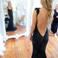 Black V Neck Backless Mermaid Dress Sequined Lace Evening Dress Long Prom Gown