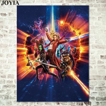 Guardians of the Galaxy Movie Poster Prints Marvel Film Heroes Wall Art Picture Bedroom Office Home Decoration Fabric Artwork