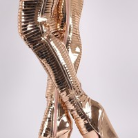 Metallic Patent Slashed Over-The-Knee Platform Wedge Boots