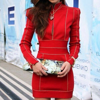 Brand quality 2015  New fashion Long Sleeve Christmas red dress high neck women bodycon Bandage celebrity party Dresses