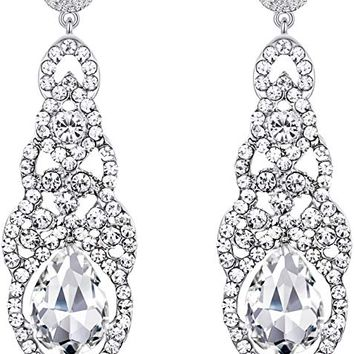 Women's Wedding Bridal Crystal Art Deco Teardrop Hollow Chandelier Dangle Earrings