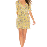 AUGUSTE X REVOLVE Valentina Crop Sleeve Mini Dress in Floral Bird Yellow