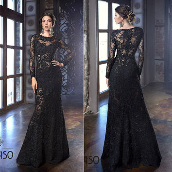 Arabic Evening Gowns Dress Floor Length Crew Neckline Lace Appliques Long Illusion Sleeve Mermaid Prom Dresses Black