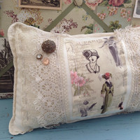 Shabby chic vintage sack paris pillow, lace pillow, shabby chic pillow, 1920s style pillow