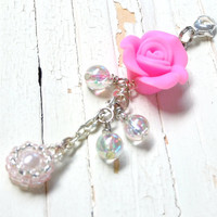 Zipper Pull / Charm Pink Rose, Flower Accessory,