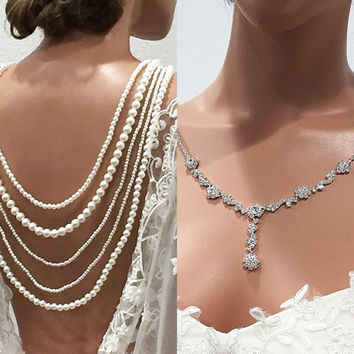 Bridal jewelry set, wedding necklace, Ivory pearl Back Drop Necklace, Vintage inspired crystal jewelry backdrop, Backwards wedding necklace,
