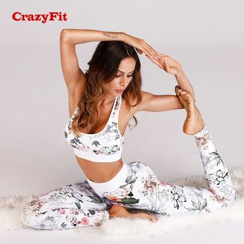 CrazyFit Women 2018 Yoga Set Floral Fitness Clothing Workout Clothes Sports Costume Female Sportswear Women Running Gym