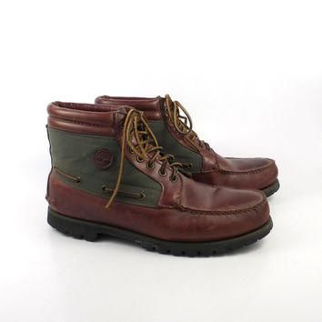Hiking Moccasin Boots Vintage 1980s Timberland Water Moccasin Leather Boots men's size