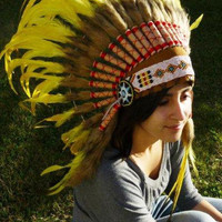 Indian Yellow  Feather Headdress