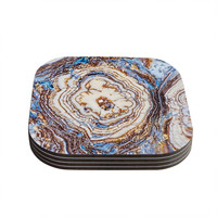 "KESS Original ""Crystal Agate"" Blue Gold Coasters (Set of 4)"