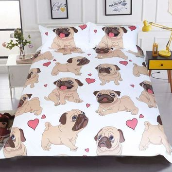 Adorable Pug Puppy Bedding Set