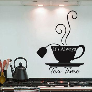 It's Always Tea Time Sing Quote Alice In Wonderland Wall Decals Cafe Home Decor For Kitchen Teahouse Stickers Removable K30