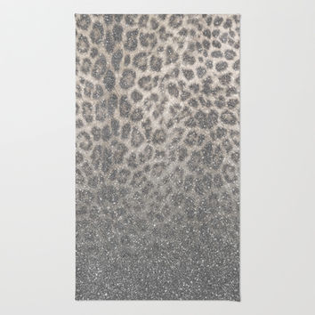 Shimmer (Snow Leopard Glitter Abstract) Area & Throw Rug by soaring anchor designs ⚓ | Society6