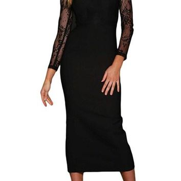 Black Lace Splice Long Sleeve Bodycon Midi Dress