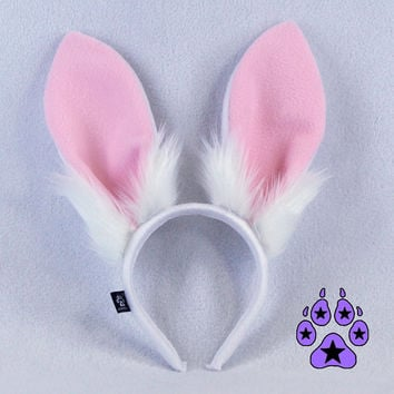 PrittenPaws Poseable Stand Up Bunny Rabbit Ears - Available in Pastel Pink Blue Lavender Purple White Black