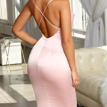 New Pink Cross Back Spaghetti Strap Homecoming Party V-neck Cute Midi Dress