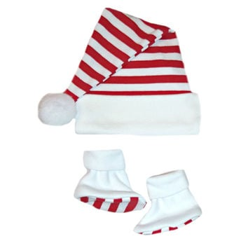Unisex Baby Christmas Santa Hat & Booties with Red & White Stripes